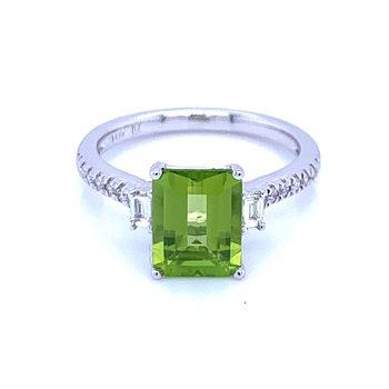 Emerald Cut Peridot & Diamond Ring