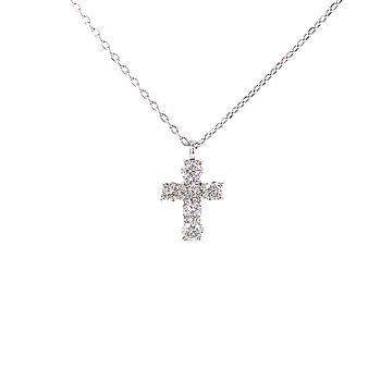 Petite Diamond Cross Pendant-18kw