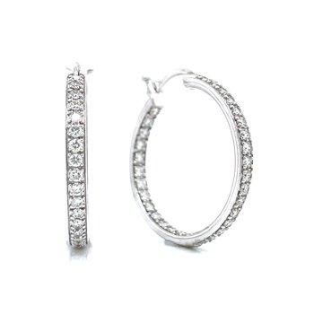 1ctw Pave' Set Hollywood Diamond Hoops
