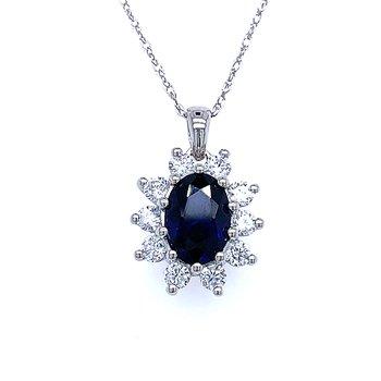 Simulated Sapphire & Diamond Pendant