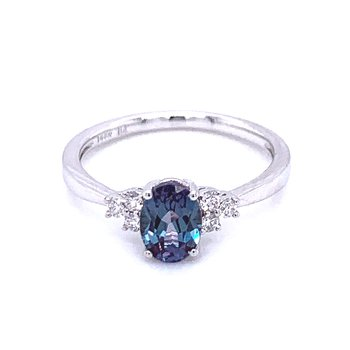 Created Alexandrite with Diamond Accents
