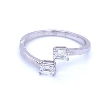 Bypass Emerald Cut Ring 1/2ctw