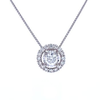 Tru-reflections Halo Diamond Pendant 3/4ctw
