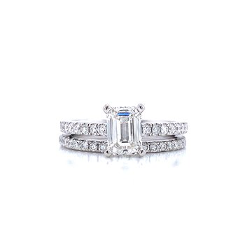 1 1/2ctw Emerald Cut Wedding Set