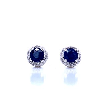 Sapphire and Diamond Halo Studs