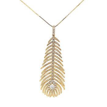 18k Gold Peacock Feather & Diamond Pendant