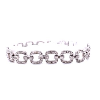 Sterling Silver Link Bracelet with Diamonds
