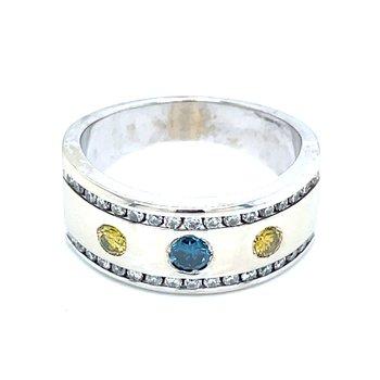 Blue & Yellow Diamond Band