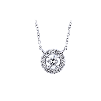Round Halo Necklace - Lab Grown - .81ctw
