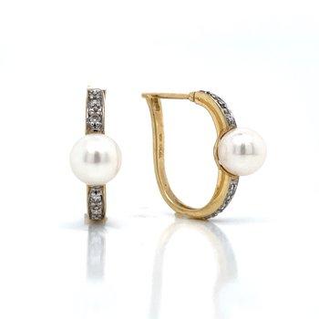 Pearl & Diamond Hoops