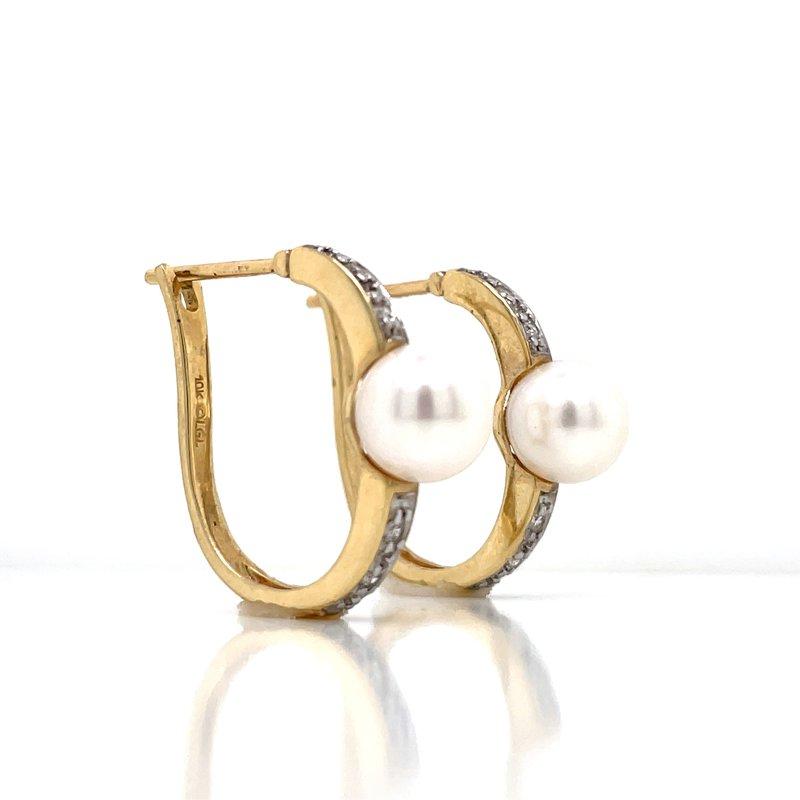 Bryan Beauties Pearl & Diamond Hoops