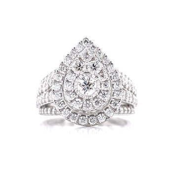 Wide Band Double Halo Pear Shape-2ctw