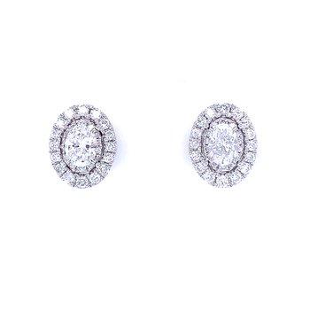 Oval Halo Diamond Studs