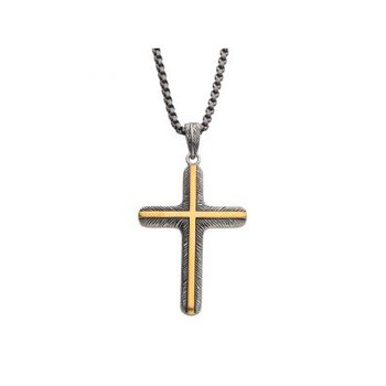 18K Gold IP Inlay & Gun Metal IP Cross Pendant with Round Box Chain