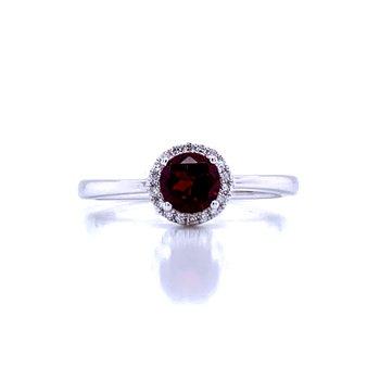 Garnet & Diamond Halo Ring