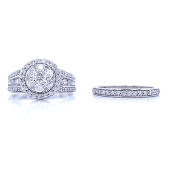 Show Stopping 1 1/2ctw Wedding Set