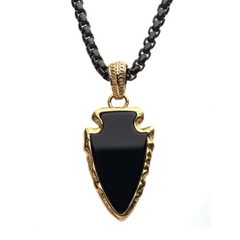 Black Agate Stone with Gold Plated Frame Pendant on a Polished Gold Plated Bail with Polished Black Plated Box Chain