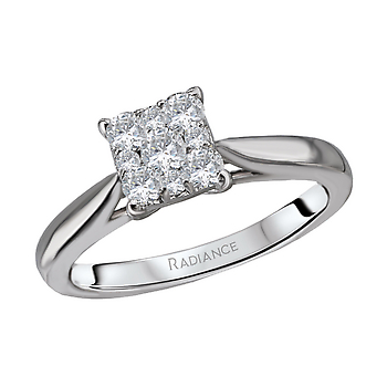 Princess Cut Cluster Engagement Ring