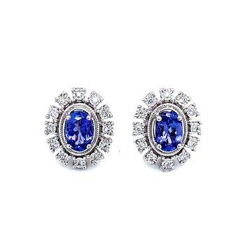 Tanzanite & Starburst Halo Diamond Earrings
