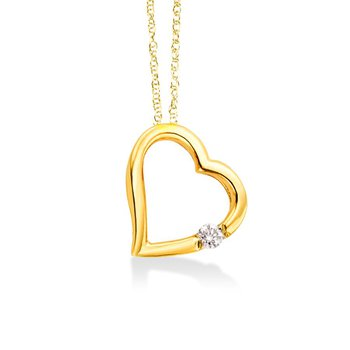 Floating Heart with Diamond in YellowGold