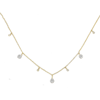 Diamond Charm Choker Necklace in 14ky