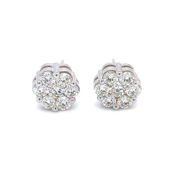 Flower Cluster Earrings 2ctw 10kw