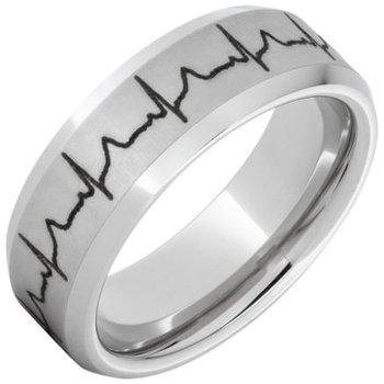 Serinium® Beveled Edge Band with Heartbeat Laser Engraving
