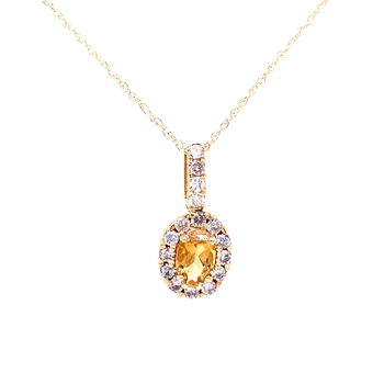 Oval Citrine & Diamond Pendant