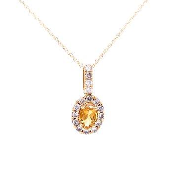 Oval Citrine & Diamond Pendant
