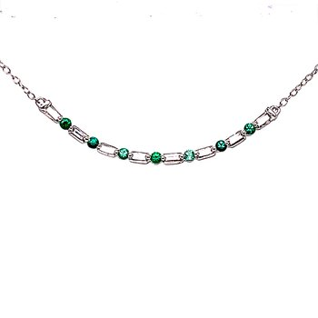 Curved Bar Diamond & Emerald Necklace-10kw