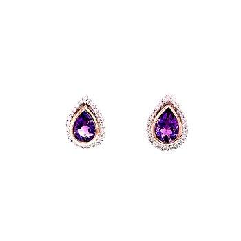 Two-tone Amethyst and Diamond Earrings