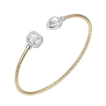 Sterling Silver 2mm Mesh Cuff with CZ, 2 Tone, 18K Yellow Gold and Rhodium Finish.