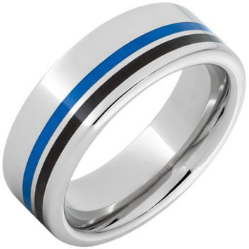 Serinium® Pipe Cut Band with One 1mm Blue Inlay and One 1mm Black Inlay