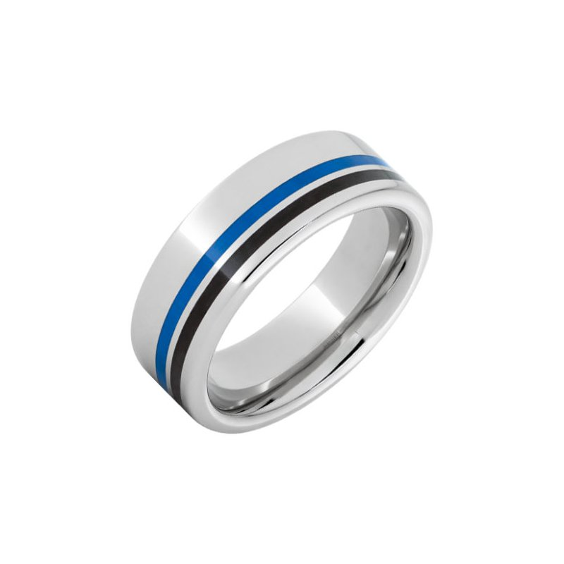 Bryan Beauties Serinium® Pipe Cut Band with One 1mm Blue Inlay and One 1mm Black Inlay