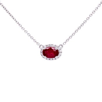 Sideways Oval Ruby & Diamond Necklace-18k