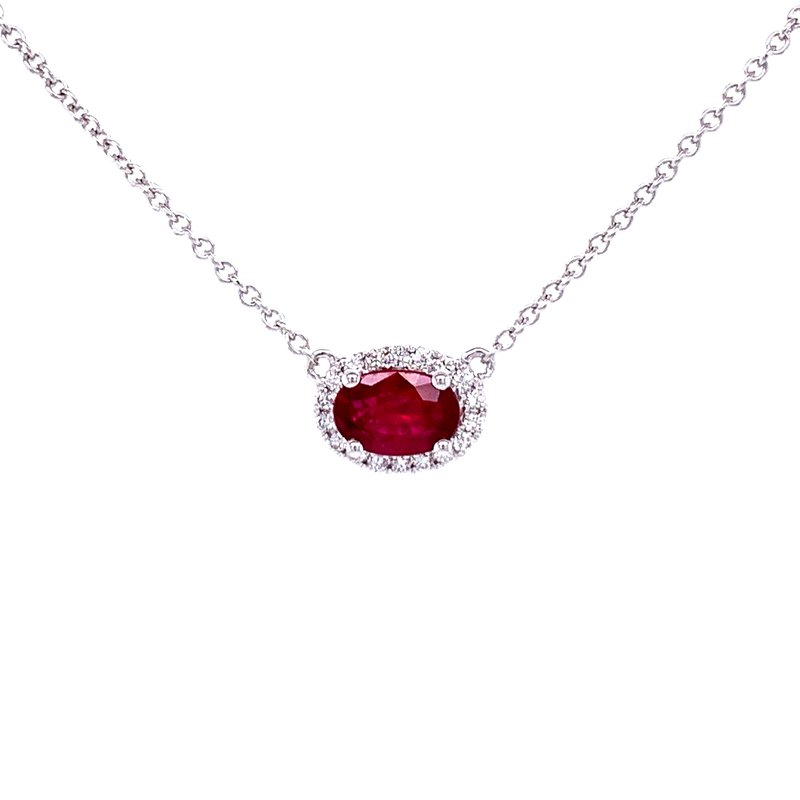 Bryan Beauties Sideways Oval Ruby & Diamond Necklace-18k