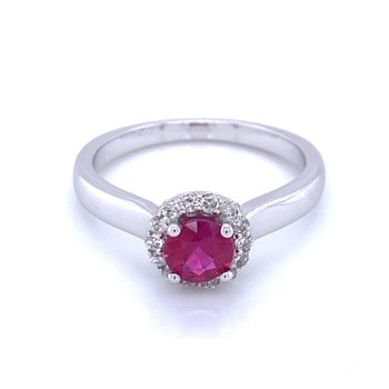 Ruby Solitiaire with Halo