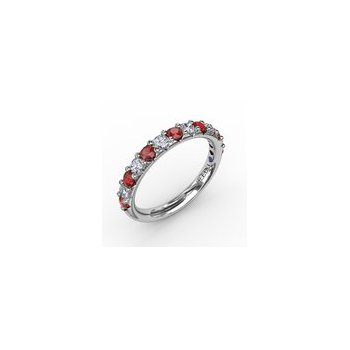 Alternating Diamond and Ruby Band 3/4ctw