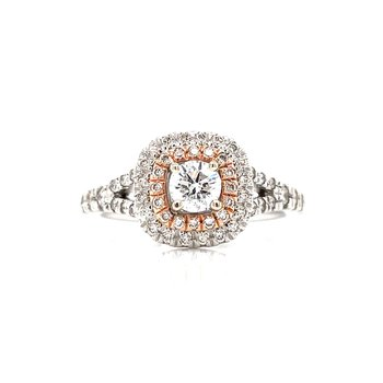 Pretty in Pink double Halo Engagement Ring