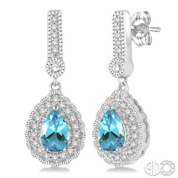 Vintage Style Aquamarine Earrings with Diamond Accents