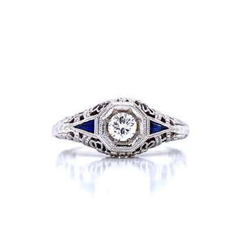 Vintage Style Diamond Ring with Filigree and Sapphire Accents