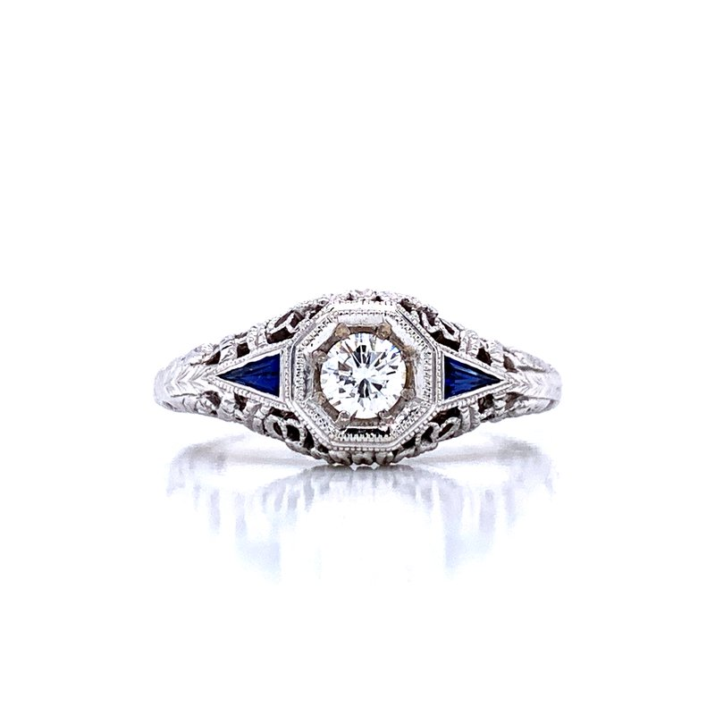 Bryan Beauties Vintage Style Diamond Ring With Filigree And Sapphire Accents Bryan Jewelry