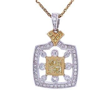 Exquisite Yellow Diamond Pendant