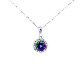 Mystic Topaz and Diamond Halo Pendant