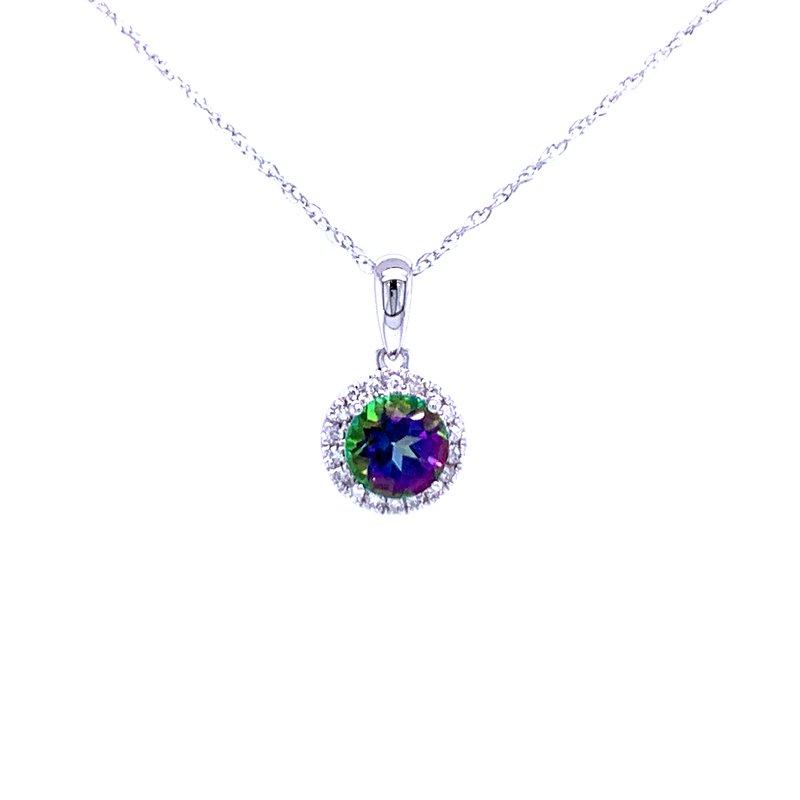 Bryan Beauties Mystic Topaz and Diamond Halo Pendant