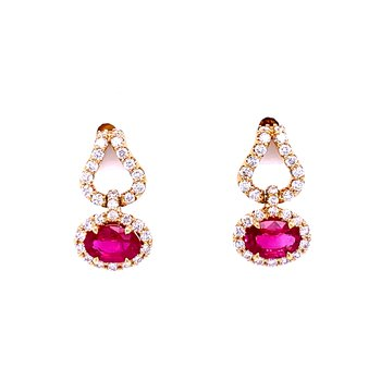 Excellent Ruby & Diamond Dangles