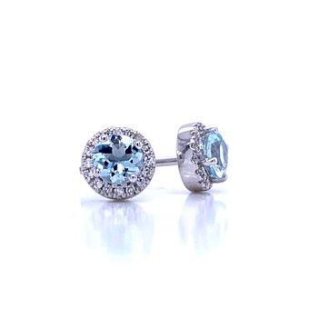 Aquamarine and Diamond Halo Studs