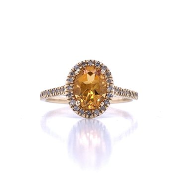 Halo Citrine & Diamond Ring