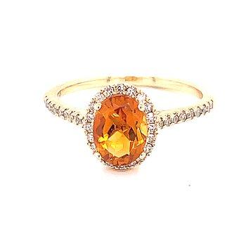 Halo Citrine & Diamond Ring