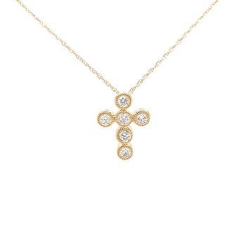 Sweet Expressions Bezel set Diamond Cross Pendant-14ky